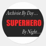 Superhero Archivist Classic Round Sticker