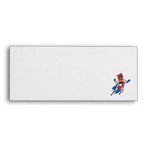 superhero bacon cartoon character envelope
