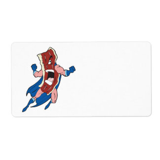 superhero bacon cartoon character personalized shipping labels