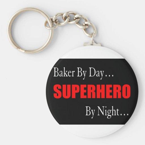 Superhero Bakers Basic Round Button Keychain