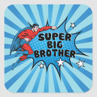 Superhero Becoming a Big Brother Square Sticker