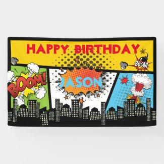 Superhero Birthday Banner