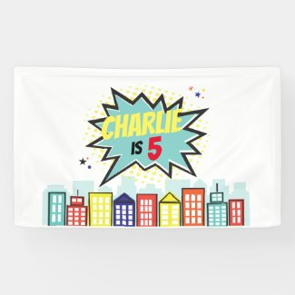 Superhero Birthday Boy Banner Backdrop