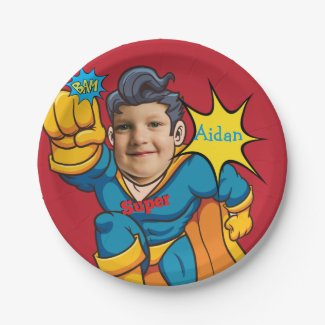 Superhero Birthday Fantastic Flying Kid Budget Paper Plate