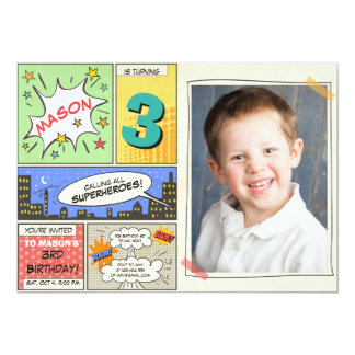superhero birthday invitation Cartoon Vintage Boy