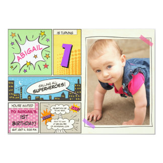 superhero birthday invitation Cartoon Vintage Girl