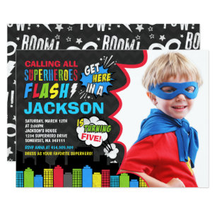 Superhero Birthday Invitation Party