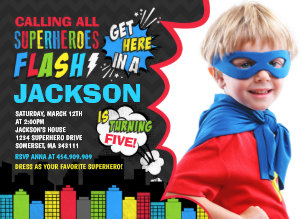 Superhero Birthday Invitation Party