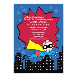 "Superhero Birthday Party Invitation 5"" X 7"" Invitation Card"