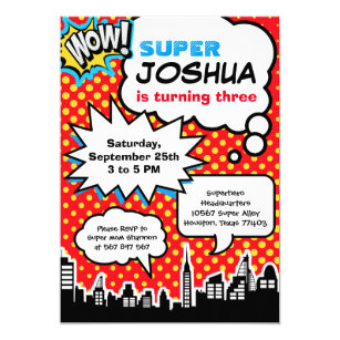 Superhero Birthday Invitations Announcements Zazzle