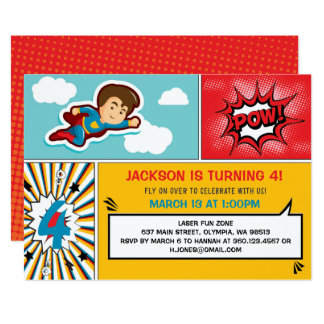 superhero birthday party invitation boy colors - Superhero Birthday Party Invitations