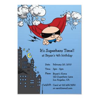 "Superhero Birthday Party Invitation Card 5"" X 7"" Invitation Card"