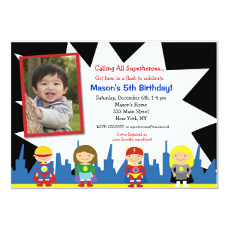 "Superhero Birthday Party Invitations 5"" X 7"" Invitation Card"