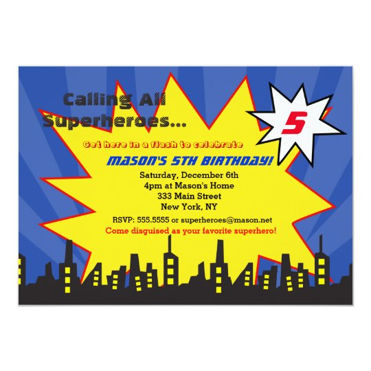 superhero birthday party invitations boys zazzle com