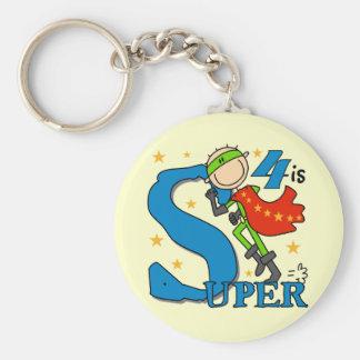 Superhero Boy 4th Birthday Tshirts and Gifts Basic Round Button Keychain