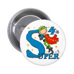 Superhero Boy 4th Birthday Tshirts and Gifts Pinback Buttons