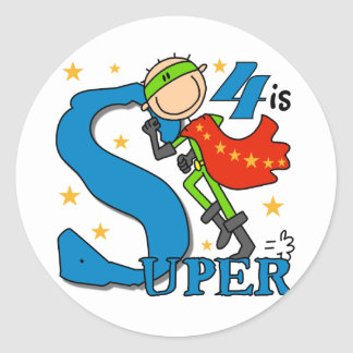 Superhero Boy 4th Birthday Tshirts and Gifts Classic Round Sticker