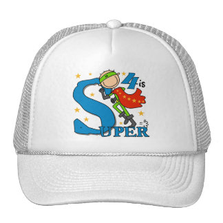 Superhero Boy 4th Birthday Tshirts and Gifts Trucker Hats