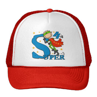 Superhero Boy 4th Birthday Tshirts and Gifts Trucker Hat