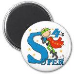Superhero Boy 4th Birthday Tshirts and Gifts Refrigerator Magnet