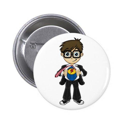 Superhero Boy Badge Pins