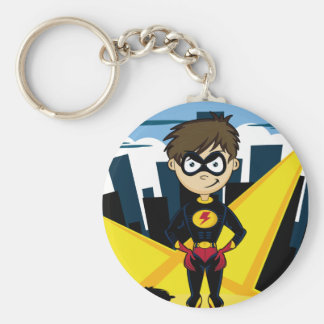 Superhero Boy in City Keychain