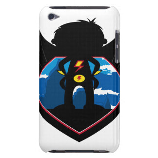 Superhero Boy in Winged Shield iPod Touch Cases