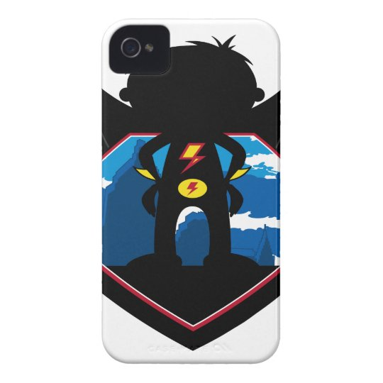 Superhero Boy in Winged Shield Case-Mate iPhone 4 Case