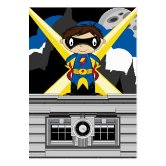 Superhero Boy on Rooftop Business Card Template