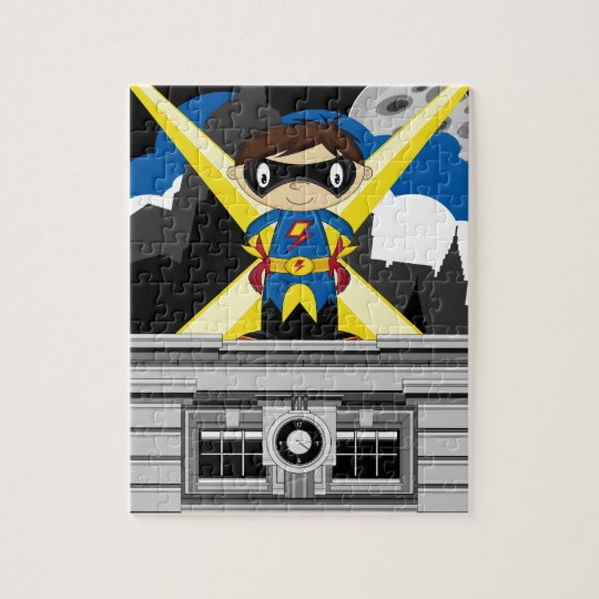 Superhero Boy on Rooftop Jigsaw Puzzle