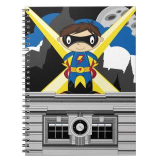Superhero Boy on Rooftop Note Book