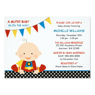 Superhero Bunting Baby Shower Card