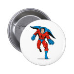 superhero caped male running flying punching pinback button