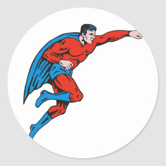 superhero caped male running flying punching stickers