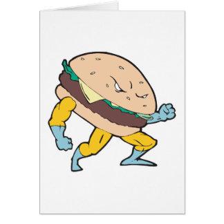superhero cheeseburger hamburger character card