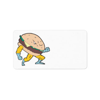 superhero cheeseburger hamburger character custom address label
