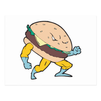 superhero cheeseburger hamburger character postcard