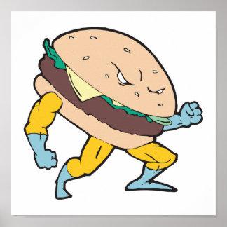 superhero cheeseburger hamburger character poster