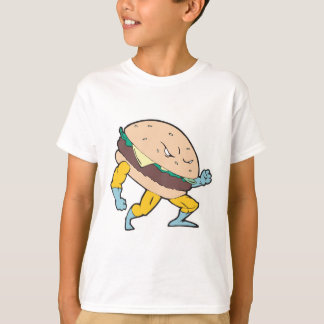 superhero cheeseburger hamburger character T-Shirt
