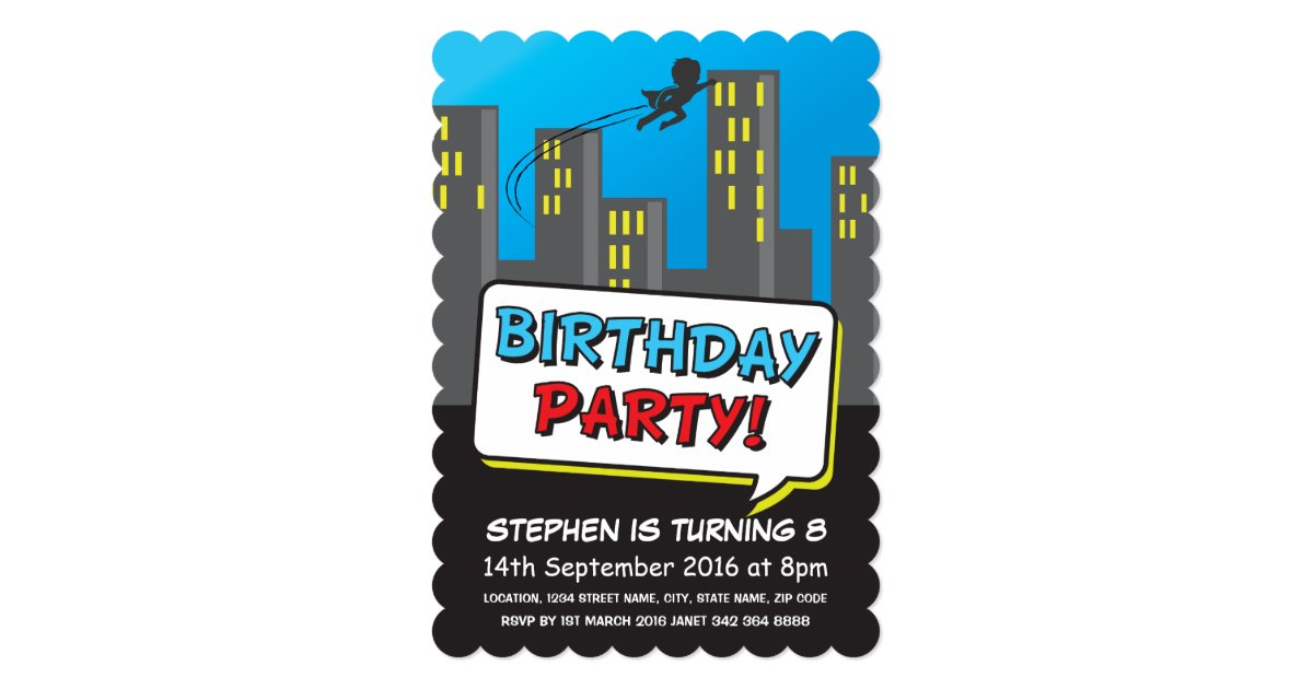 Superhero City Flying Kids Birthday Invitation