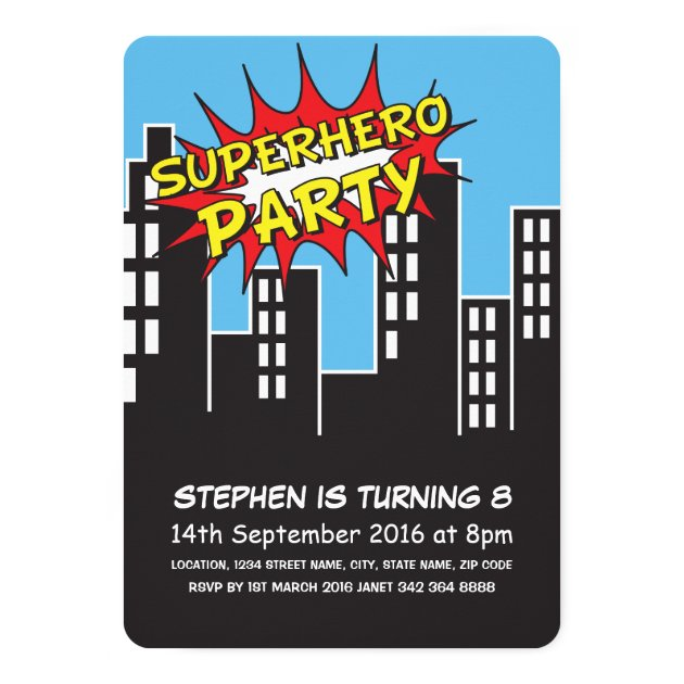 Superhero City Skyline Kids Birthday Invitation