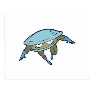 superhero clam postcard