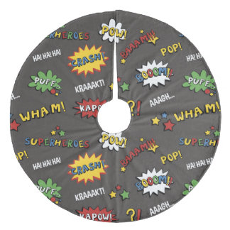 Superhero Colorful Fun Pattern Fleece Tree Skirt