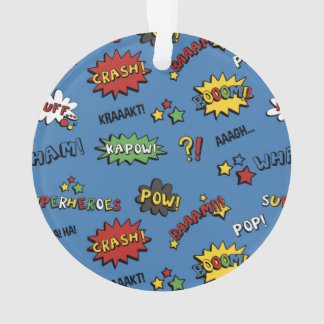 Superhero Colorful Fun Pattern Ornament