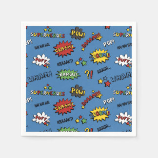 Superhero Colorful Fun Pattern Paper Napkin