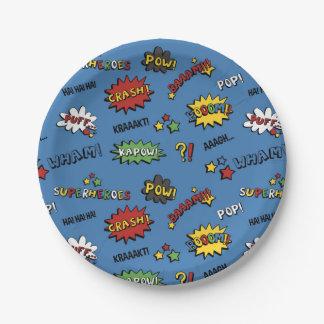 Superhero Colorful Fun Pattern 7 Inch Paper Plate