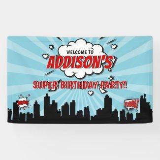 Superhero Comic Birthday Party Welcome Banner