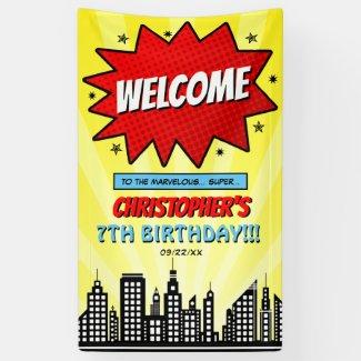 Superhero Comic Book Any Age Birthday Welcome Banner