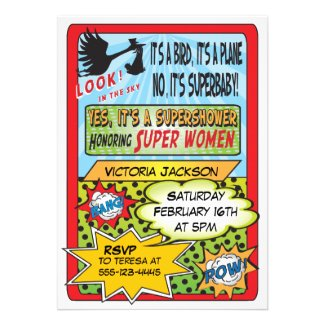 Superhero Comic Book Baby Shower Invitations