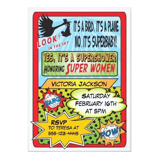superhero comic book baby shower invitations | zazzle, Baby shower invitations